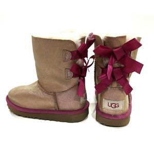UGG Girls Mini Bailey Bow II Shimmer Boot 11 M